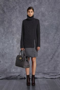 MULBERRY | pre-fall 2014  Like overall balance of top and bottom; along with black/grey textural contrast.