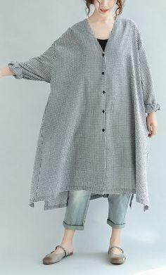 black white plaid shirt dress casual stylish coat plus size long sleeve maxi dress