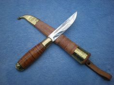 VINTAGE COLLECTIBLE PUUKKO HUNTING KNIFE FINLAND w SCABBARD