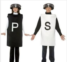 Two Halloween Costumes Boy Girl Kids Small Adult Salt Pepper Sz 7 10 | eBay