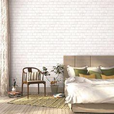 white brick wallpaper in bedroom