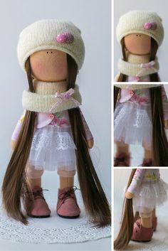 Love doll Tilda doll Art doll Holiday doll handmade blue brown white color Soft…