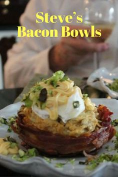 No matter how the bowls look, they taste wonderful. Steve has filled them with lettuce, tomato and mayonnaise for a BLT without the bread, as well as various other fillings. Really, they are good with anything you can think of! Who can go wrong with bacon?