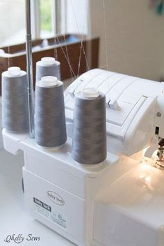 Tips for faster sewing - Melly Sews - Use Gray Thread for Inside Seams. If it's not couture, it's unlikely that people are going to see and/or care about what color thread you used on the inside of things. It blends into most everything. Sewing Hacks, Sewing Tutorials, Sewing Crafts, Sewing Tips, Sewing Ideas, Serger Sewing, Diy Couture, Sewing Projects For Beginners, Serger Projects