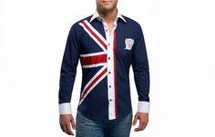 Union Jack Shirt, Waisted-fit - Dress Shirts for Men . Fitted Dress Shirts, Dress Shirts For Women, Shirt Dress, Fashion Casual, Urban Fashion, Men's Fashion, Union Jack, Patriotic Outfit, Patriotic Clothing