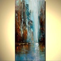Original Abstract Painting Urban City At Dawn by OsnatFineArt, $700.00