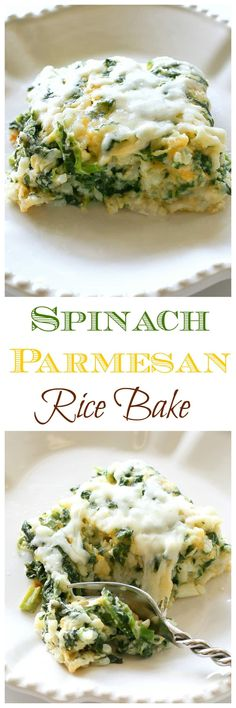 Spinach Parmesan Rice Bake - a cheesy side dish with spinach, cheese, and rice. the-girl-who-ate-everything.com