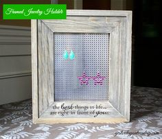 Framed Jewelry Holder: Great DIY Christmas gift for teen or tween girl #jewelryorganization #christmasgifts #yesterdayontuesday