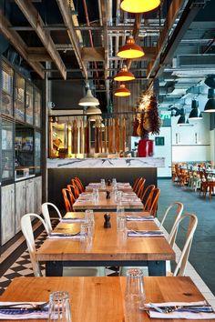 jamie oliver restaurant design | Jamies Italian, Westfield, Designed by Blacksheep Images Credited to ...