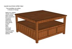 Square Solutions Coffee Table Plans - Modify to turn into a lego table