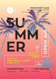 Summer event poster template / In terms of getting a Jazz Poster, Neon Poster, Retro Poster, Vintage Poster, Party Poster, Poster Design Software, Film Poster Design, Event Poster Design, Event Posters