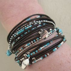 BOHO STYLE!! Custom Handmade Wrap Bracelet in Dark Brown Leather which wraps around your wrist three times or can be worn as a necklace. PLEASE