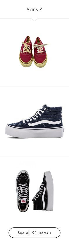 """""""Vans 🏵"""" by hanne-peeters ❤ liked on Polyvore featuring shoes, grunge, sneakers, platform lace up shoes, rubber sole shoes, vans trainers, vans footwear, denim shoes, vans and trainers"""