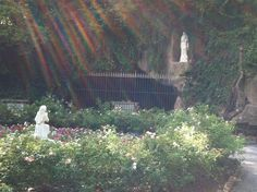 St. Bernadette facing a replica of the Grotto at Lourdes, Franciscan Monastery (Joe Cruz photo).