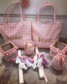 Personalized totes Unicorn Easter gift set⭐️by cottonprince. Easter Gift, Happy Easter, Decorated Candles, Baptism Ideas, Easter Ideas, Tote Bag, Projects, Crafts, House
