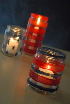 Fourth of July DIY stars and stripes candle jars by Family Chic. I so wanna make some of these. Fourth Of July Decor, 4th Of July Celebration, 4th Of July Party, July 4th, July Crafts, Summer Crafts, Favorite Holiday, Holiday Fun, Holiday Ideas