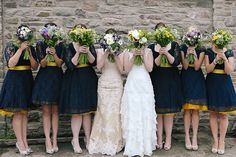 Navy Yellow Bridesmaid Dresses Petticoats Bouquets Flowers Double Twin Wedding http://www.michellehuggleston.com/