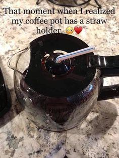That moment when I realized my coffee pot has a straw holder. And just look, there's even a spout or I can pour my creamer in! Coffee Talk, Coffee Is Life, I Love Coffee, Coffee Break, Coffee Cups, Coffee Coffee, Coffee Shop, Coffee Lovers, Funny Coffee