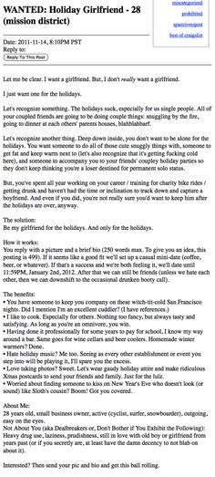 Craigslist ad seeks holiday girlfriend for committed, extremely brief relationship.