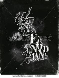 Vintage united kingdom map with regions inscription scotland, northern ireland, england, wales drawing with chalk on chalkboard background