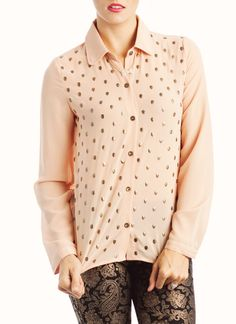 skull studded button-up blouse $34.40