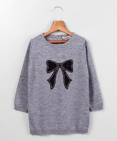 Love this Beebay Gray Sequin Bow Pullover Sweater - Infant, Toddler & Girls by Beebay on #zulily! #zulilyfinds