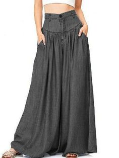 Find Domple Women High Waist Plus Size Wide Leg Palazzo Long Pants Pockets online. Shop the latest collection of Domple Women High Waist Plus Size Wide Leg Palazzo Long Pants Pockets from the popular stores - all in one Baggy Trousers, Trousers Women, Wide Leg Pants, Pants For Women, Clothes For Women, Wide Legs, Harem Pants, Denim Pants, Dress Pants