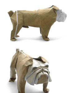 Bulldog Mariano Zavala origami 17 via /r/Art...