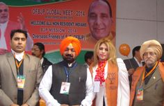 Sukhminderpal Singh Grewal and Hon'ble NRIs ( Non Resident Indian's ) and PIOs ( People of Indian Origin ) at OFBJP Global Meet - 2014 with BJP Investor Cell Itlay President Satish Kumar Joshi, OFBJP Mahila Morcha Norway President Madam Arundeep Plaha, President Vancover Canada Gurtej Singh and Hartirath Singh Delhi in NRI Sammelan.