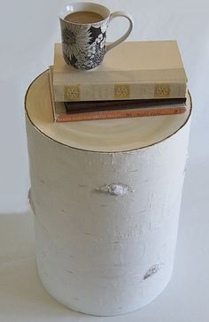 DYI Faux Birch Side Table- I love this!