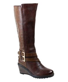 Another great find on #zulily! Brown Scale Macy Wedge Boot #zulilyfinds