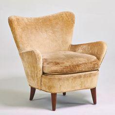 Ernst Schwadron; Walnut Lounge Chair, 1950s.