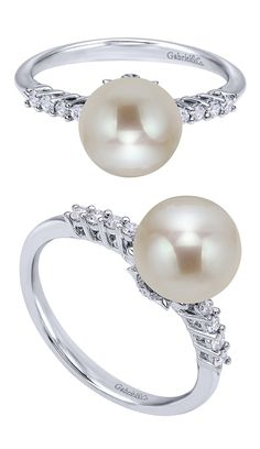 Pearls are the perfect edition to any spring outfit. This is a Gabriel & Co. 14k White Gold Grace Ring.