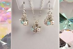 Beach-Inspired Set Pearls and Crystals Necklace and by Gemsicles