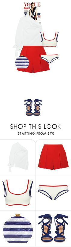"""""""Elenor #8375"""" by canlui ❤ liked on Polyvore featuring Magdalena, Ann Demeulemeester, Alice + Olivia, Solid & Striped, Edie Parker, Gianvito Rossi, white, red, Blue and fourthofjuly"""