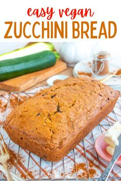 This easy vegan zucchini bread recipe is moist, delicious and filled with cinnamon, nutmeg and chocolate chips. The best ever homemade bread! #veganzucchinibread #veganbreadrecipes #veganbread #vegandessertrecipes Healthy Vegan Desserts, Vegan Dessert Recipes, Cooking Recipes, Zucchini Bread Recipes, Vegan Zucchini, Vegan Comfort Food, Vegan Bread, Chocolate Chips, The Best