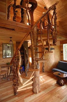 Outa-the-Woods Treehouse Rental, East Kootenays, BC, Canada   Spiral stairs to the loft