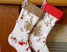 We wanted to make a Christmas stocking robust and big enough to be filled with goodies but also to look fabulous hanging on the fireplace as a decoration year after year. We only use good quality designer fabrics.  These stylish Christmas stockings are made using Fryetts gorgeous Christmas Woodland fabric (front and back) beautifully illustrated with woodland trees and animals, elves, snowmen, sleighs and reindeer. They are fully lined with plain cream lining with a white cord bow at the…
