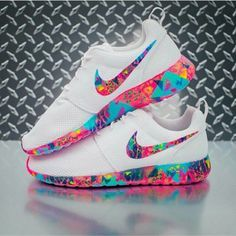 shoes nike rose roshe runs colorful multicolor white nike shoes nike running shoes nike roshe run nike roche pink purple blue neon neon pink neon blue white shoes yellow white sneakers low top sneakers white roshe nike sneakers Nike Free Shoes, Nike Shoes Outlet, Running Shoes Nike, Nike Shoes For Girls, Nike Slip On Shoes, Cool Nike Shoes, Running Sports, Hiking Shoes, Nike Roshe Run