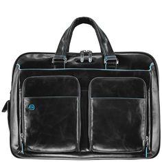 Piquadro Blue Square Erweiterbare Kurzgriff-Laptoptasche mit iPad/iPad®Air-Fach black