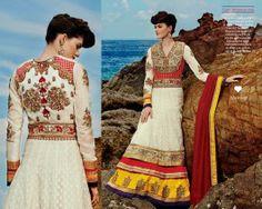 Tri Color Double Layered Anarkali, eid sale, designer collection 2014, buy floor length anarkali online, latest trendz 2014, anarkali fashion