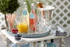 Spring Soiree for Adult birthday party Bellini Bar, Mimosa Bar, Cocktails For Parties, Spring Cocktails, Adult Birthday Party, Birthday Celebration, Tray Styling, Large Tray, Food Stations