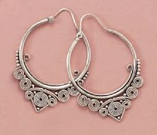 Bali Style Hoop Earrings // Sterling Silver.