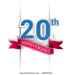 20th anniversary logo, blue and red colored vector design on white background. template for Poster or brochure and invitation card.
