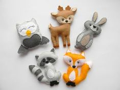 Woodland stuffed animals,  woodland decor, forest animals, woodland nursery decor, woodland ornaments, felt fox raccon bunny owl by Rainbowsmileshop on Etsy https://www.etsy.com/listing/261401582/woodland-stuffed-animals-woodland-decor