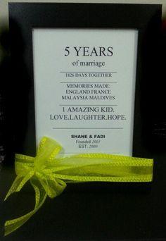5 year anniversary words