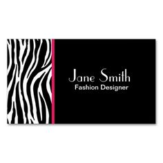 Zebra Print Fashion Designer Hair Stylist Salon Business Card Template. This is a fully customizable business card and available on several paper types for your needs. You can upload your own image or use the image as is. Just click this template to get started!