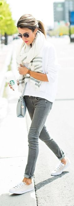 Gray pants with all white. White tee, white scarf and white converse sneakers. Casual perfect for Jeans Friday.
