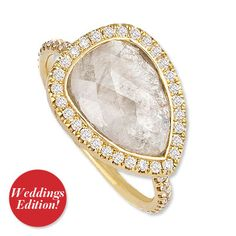 Jennifer Meyer Opaque Diamond Ring  Most engagement rings are all girly-girl glamour. But genius jewelry designer Jennifer Meyer has whipped up something special for the bohemian who lives in denim and leather and much prefers a laidback look. The bold beauty features a 6.6-carat pear shape opaque diamond set sideways on a pavé band. This statement jewel means boho brides can walk down the aisle without breaking any commitments to their style.