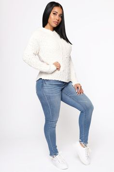 Just A Homebody Hooded Sweater - Ivory Petite Fashion, Curvy Fashion, Plus Size Fashion, Style Fashion, Black Sequin Dress, Black Sequins, Jean Outfits, Casual Outfits, Fall Fashion Trends